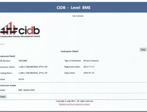 J&C Engineering Qualifies as a CIDB Level 8 ME Contractor